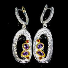 Handmade Natural Amethyst 925 Sterling Silver Earrings /E34652