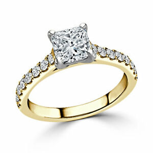 1.48 Ct Princess Cut Solitaire Diamond Engagement Ring 14K Yellow Gold Size M N