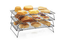 Kitchen Craft 3 Tier Large Stacking Cake & Pastry Cooling Wire Racks Tray