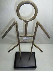 Vtg Geometric Abstract Metal Man Statue Brutalist Tiki Mid Century Modern Decor
