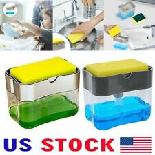 Kitchen Dish Soap Pump Dispenser with Sponge Holder 2-in-1 Press Countertop Rack