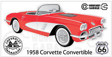 Chevrolet Corvette 1958 Convertible  Sticker - Red