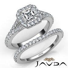 2.7ctw Separado Pata Halo Pavé Novia Asscher Anillo de Compromiso Diamante GIA
