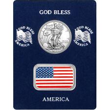 Enameled American Flag Silver Bar and Silver American Eagle 2pc Box Set
