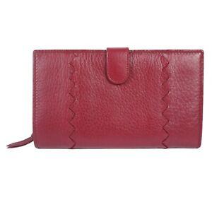 100% Authentic Bottega Veneta Cervo Deerskin Leather Long Wallet Red