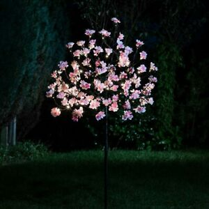1.2m Solar Pre Lit LED Cherry Blossom Twig Tree Decoration Outdoor 100 LED