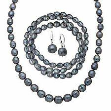 Black Freshwater Ringed Pearl Earring Bracelets & Necklace Set in Silver