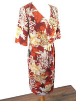 NEW Alexon Size 10 Red Orange Ruched Fitted Dress Floral V Neck Below Knee Party