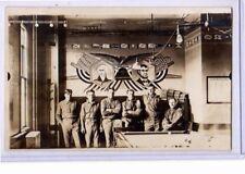 Real Photo Postcard RPPC - Soldiers Pool Room Billiards Washington Lincoln Mural