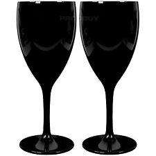 Set of 4 Black Glossy Polycarbonate 350ml Wine Goblets Glasses Wedding Party Bar