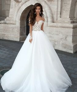 Illusion Lace Appliqué Tulle wedding dress, Long Sleeves, UK tailor made