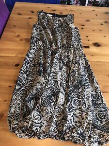 Monsoon Size 8 Black Beige Shift Skater Dress Bubble Hem Sleeveless