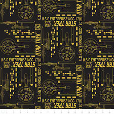 Fat Quarter Star Trek Galaxy Pop Enterprise Black 100% Cotton Quilting Fabric