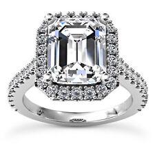 Emerald Diamond Halo Pave Engagement Ring H VS2 14k White Gold 2.03Ct Enhanced
