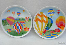 Shafford Salad Plate x 2 Aloft Jebba Hot Air Balloons 1982 Japan 7.5in Porcelain