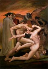 Bouguereau Dante and Virgil No Inferno Repro, Hand Painted Oil Painting 24x36in