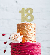 18th Cake Topper - Glittery Gold - 18th Birthday Topper - Number Eighteen -Large