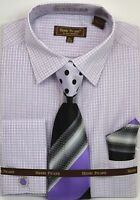 Men's Dress Shirt Tie Hanky Set Striped Lavender/White Cuff Links French Cuff