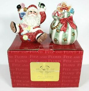 Vintage Fitz & Floyd 1996 Sugar Plum Salt and Pepper Shaker Set Santa and Bag