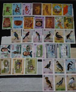 BELIZE, 34 stamps, theme birds, animals, planes,  MNH