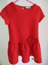 Next Mädchen Kleid Kurzarm 92/98 Rot Uni einfarbig Basic mit Schleife 2-3 yrs