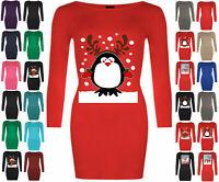Womens Christmas Santa Mini Dress Ladies Long Sleeve Xmas Jumper Bodycon Dresses