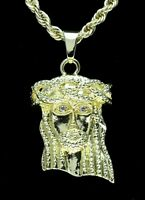 "Mens Jesus Piece Pendant 14k Gold Plated w/ 24"" Rope Chain Hip Hop Necklace"