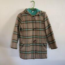 J Crew Kid Plaid Wool Coat Toggle Girls Medium