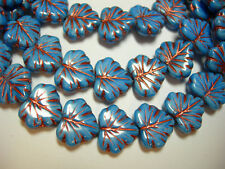 10 beads - Blue Silk with Copper Czech Glass Maple Leaf Beads 11x12mm