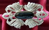 Vintage Silver Marcasite Onyx Classic Art Deco Inspired Bar Brooch