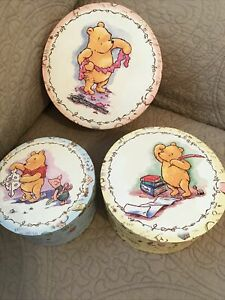 Set of 3 Nested/Stackable Classic Winnie The Pooh Round Boxes•Yellow-Blue-Pink