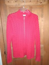 LL Bean Women XL Red Cable Knit Zip Cardigan Lng Sleeve Cotton Sweater Mock Neck