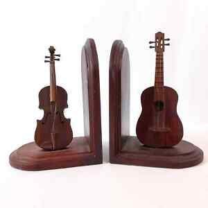 Vintage Wooden Cello Guitar Bookends Lightweight Stringed