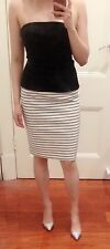 Zara black/white stripes sleeveless strapless mini dress skirt knee length party