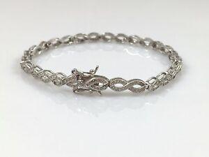 """925 Sterling Silver Genuine Solid Ladies Line Infinity Bracelet 7.5"""" 8.7gr NEW"""