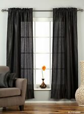 "Black Rod Pocket Textured Curtain / Drape / Panel - 84"" - Piece"
