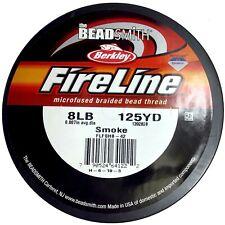 FireLine Beading Thread Crystal Smoke Black Beadsmith 6LB 8LB 125 yard/spool