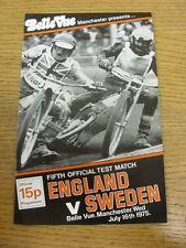 16/07/1975 Speedway Programme: England v Sweden [Belle Vue] (results/riders/posi