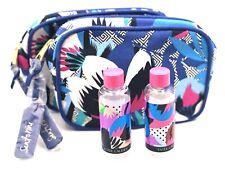 Lot of 2: Estee Lauder Tropical Flower Print Cosmetic Makeup Bag+ Travel Bottles