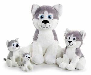 PLUSH MUSH THE HUSKY DOG TEDDY SOFT TOY WOLF CANINE ANIMAL LARGE or SMALL NEW