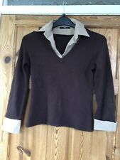 JANE NORMAN Ladies Pretty Brown Layered/Collared Fine Knit Jumper Size 12
