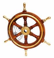 "Antique Wooden Maritime Decor 18"" Captains Shipwheel Ships Wheel Steering Helm"