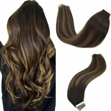 GooGoo 20pcs 50g Tape in Human Hair Extensions Balayage Brown and Blonde