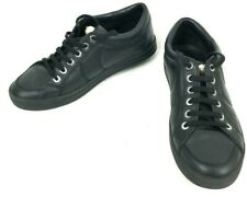 CHANEL Runway AUTHENTIC Women's 36/5 M Pearl Logo Black Leather Sneakers Italy