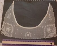 """French Antique White Work Embroidered Collar c1900-1918~Floral & Lace~L-9""""X W-13"""