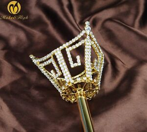 Unisex Gold Sceptre Wand Clear Crystal Scepter Prop Staff Parade Pageant Costume