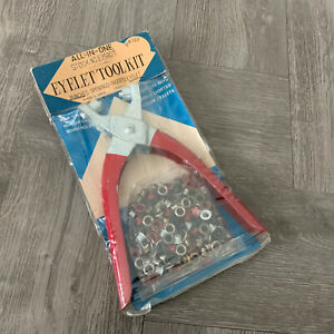 Vintage Eyelet Sewing Crafting All In One Tool Kit With Eyelets  New NOS