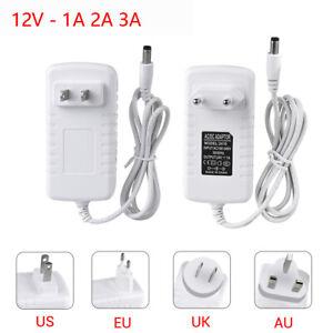 AC Power Supply 1A 2A 3A DC 12V white Adapter Plug LED Strip light US EU AU UK