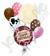 7pc Cow Girl Happy Birthday Balloon Bouquet Party Decoration Cow Farm Pink Brown