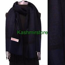 NEW Women Soft Pashmina & Silk Paisley Shawl/Wrap/Scarf Color Navy blue/black